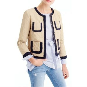 J Crew Quilted Lady Day Safari Jacket Tan Blue  2